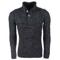 MZ72 MZ72 -  Men`s Cable Pullover - Heavy Knitted - Model Soground - Black