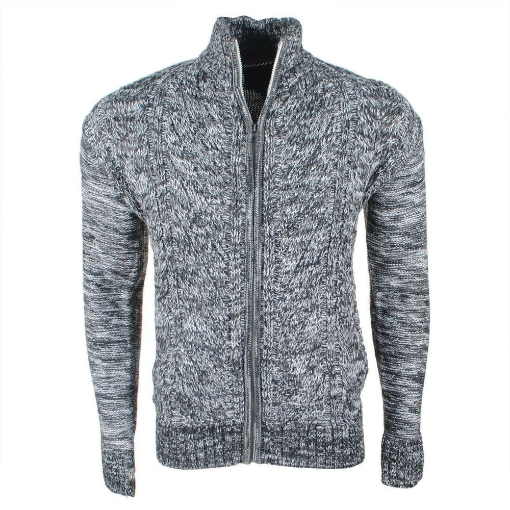 MZ72 MZ72 - Men's Cable Cardigan - Heavy Knitted - Grey