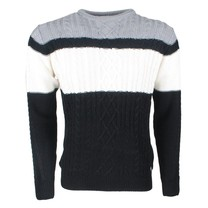 The Wild Stream Wildstream - Men`s Cable Pullover - Round Neck - Heavy Knitted - Black White Grey