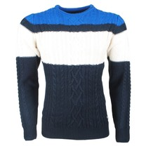 The Wild Stream MZ72 - Pull pour homme - Tricot - Marine Blanc Bleu