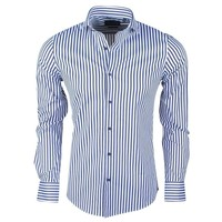 Montazinni Dom Tower - Chemise pour homme - Stretch - À rayures - Bleu - Blanc
