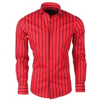 Montazinni Dom Tower - Men's Shirt - Stretch - Striped - Black - Red