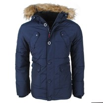 Northvalley Northvalley - Heren Winterjas met Faux Fur Bontkraag - Capuchon met Fleece Voering -Model Luis - Navy
