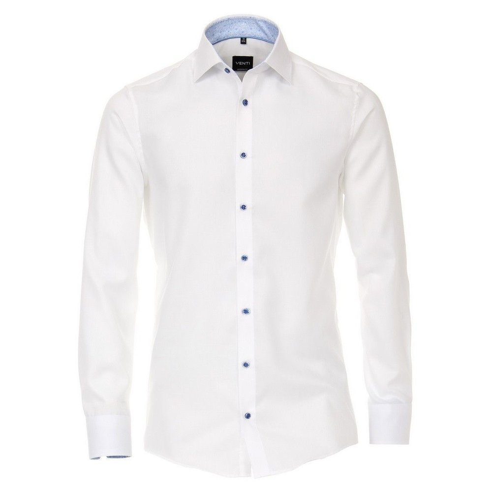 Venti Venti - Heren Overhemd - Oxford - Strijkvrij - Regular fit - Wit