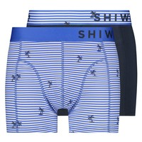 Shiwi Shiwi - 2-Pack Boxershorts - Striped Palm - Bali Blau
