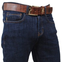 Cobbelti - Men Jeans with Free Belt - Stretch - Length 36 -  Dark Navy