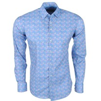 Ferlucci Ferlucci - Men's Shirt with Trendy Design - Calabria - Stretch - Blue