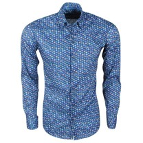Ferlucci Ferlucci - Men's Shirt with Trendy Design - Calabria - Stretch - Navy
