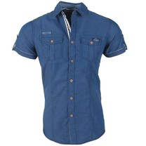 Deeluxe Deeluxe - Men's Short sleeve Shirt - Islando - Navy