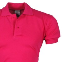 VDHT - Trendy Einfarbig Herren Polo Shirt - Regular Fit - Fluo Rosa