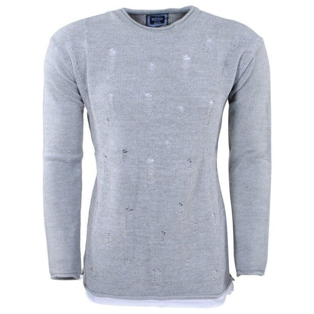 Carisma Carisma - Men's Pullover - Round Neck - Heavy Knitted - Damaged Look - Grey