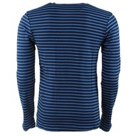 Earthbound - Men's Pullover - Striped - Round Neck - Fine Knitted - Slim Fit - Navy