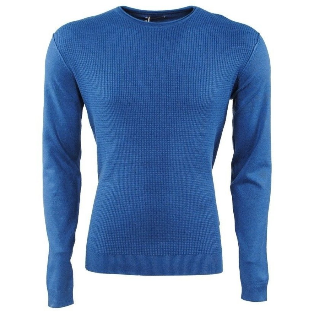 Earthbound - Men's Pullover - Elbow Patches - Round Neck - Fine Knitted - Slim Fit - Blue