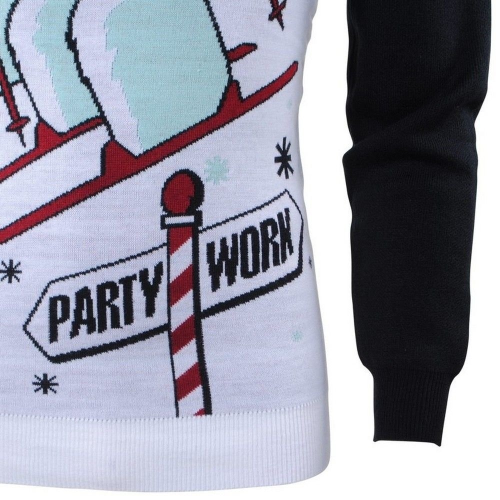 Season's - Unisex Christmas Sweater for Men and Women - Fine Knitted - Round Neck - Party Work - Black