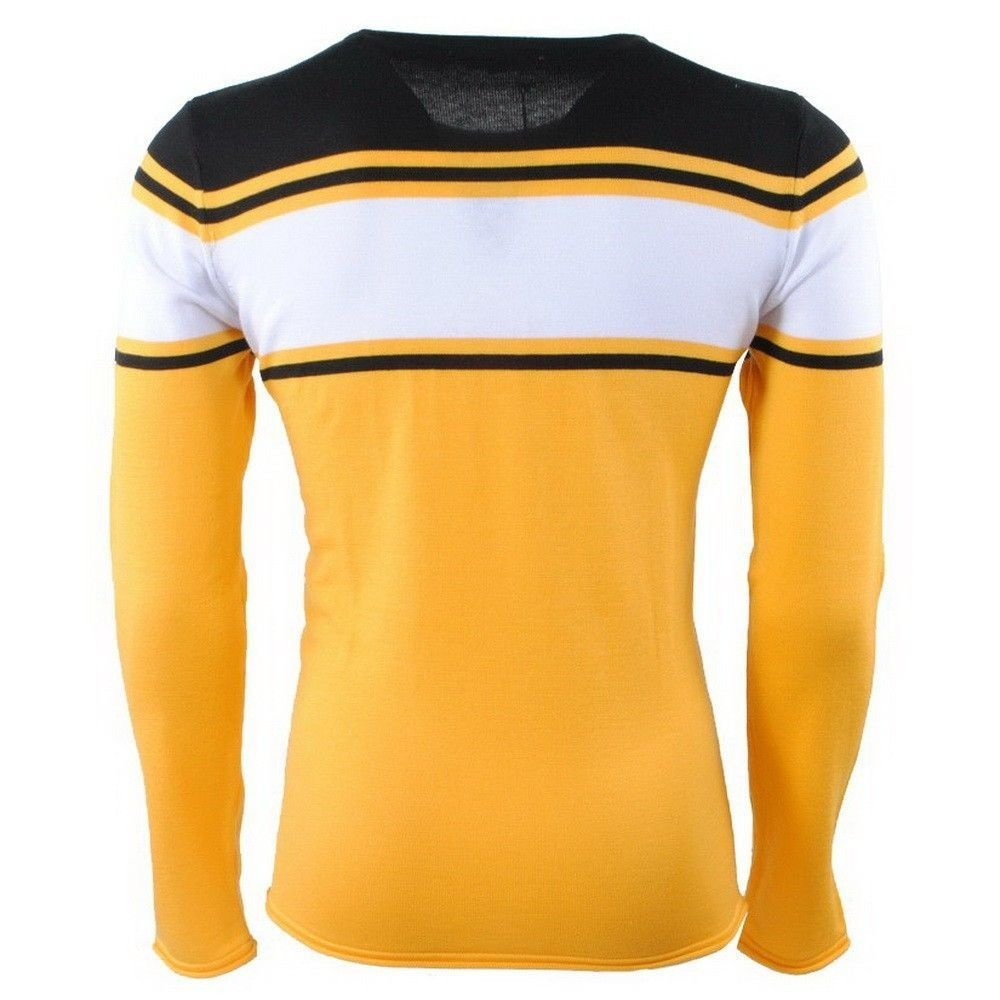 Carisma Carisma - Men Pullover - Round Neck - Fine Knitted - Black - White - Yellow