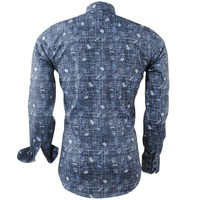 Ferlucci Ferlucci - Men's Shirt with Trendy Design - Flowers - Calabria - Anthracite