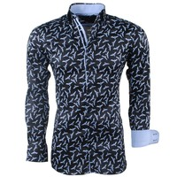 Montazinni Montazinni - Men's Shirt - Stretch - Birds - Black