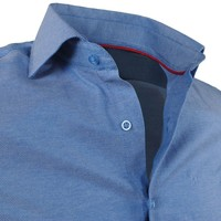 Montazinni Montazinni - Men's Shirt - Oxford - Steel blue