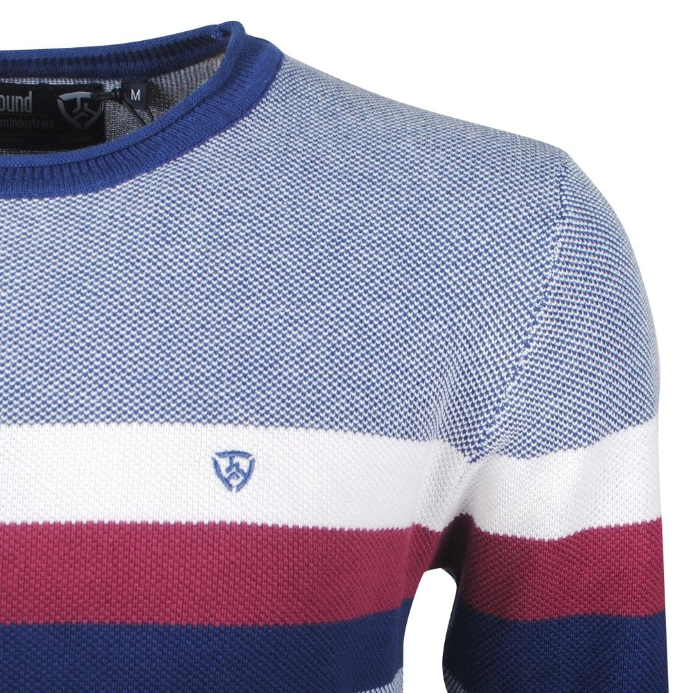 Earthbound - Men's Pullover - Striped - Round Neck - Fine Knitted- Blue