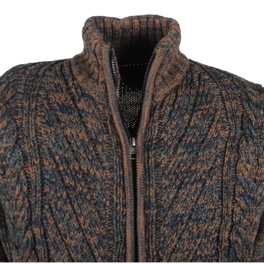 MZ72 MZ72 - Men's Cable Cardigan - Heavy Knitted - Brown