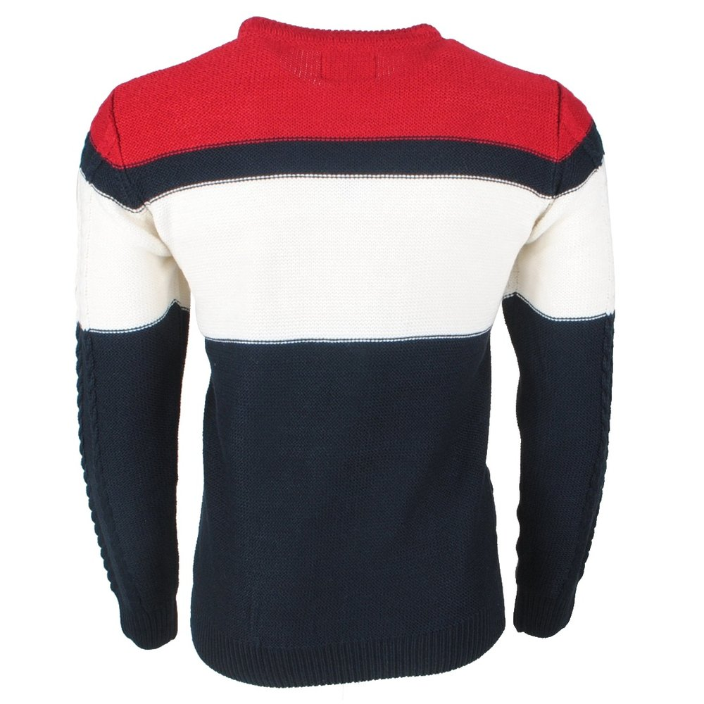 The Wild Stream Wildstream - Men`s Cable Pullover - Round Neck - Heavy Knitted - Navy White Red