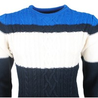 The Wild Stream Wildstream - Men`s Cable Pullover - Round Neck - Heavy Knitted - Navy White Blue