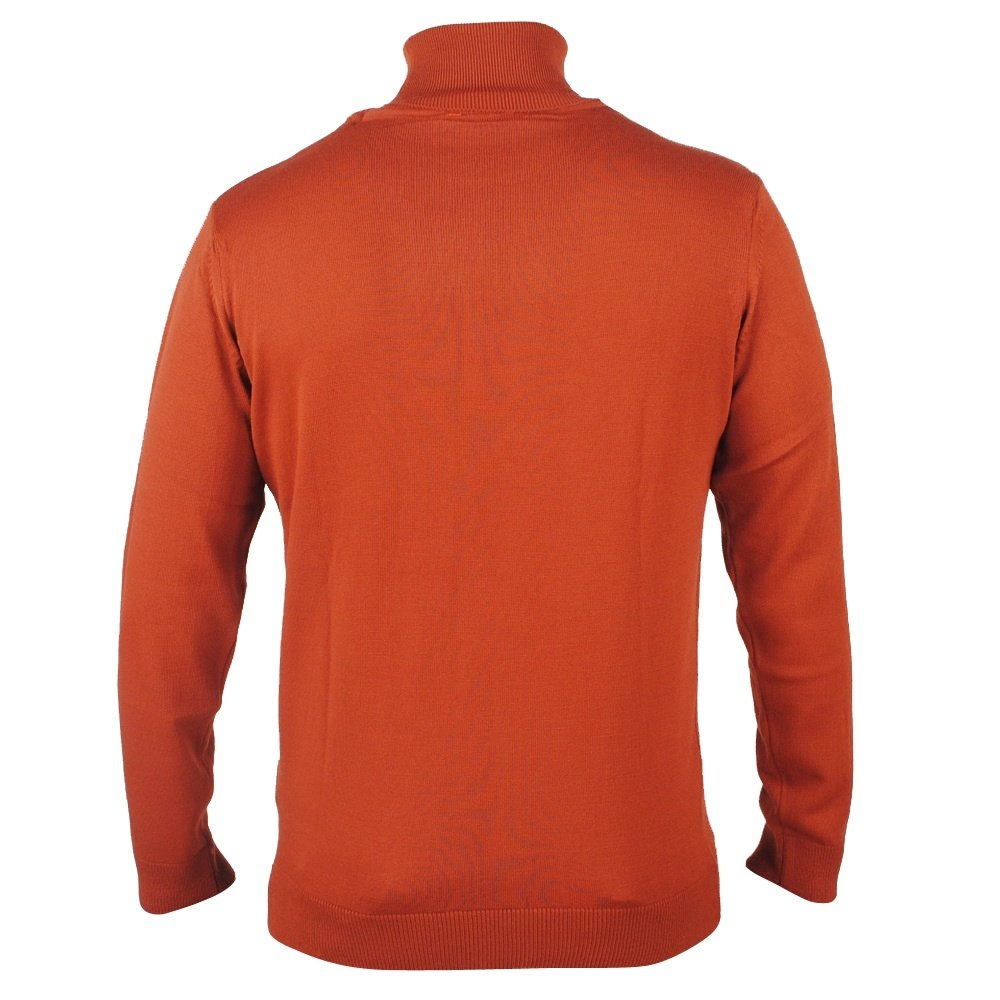 Enrico Polo - Men`s Knitted Rollup Pullover - Cognac