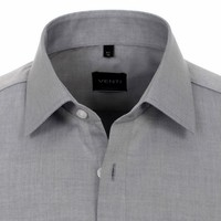 Venti Venti - Men Shirt - Grey - Poplin - Non-Iron - Regular fit