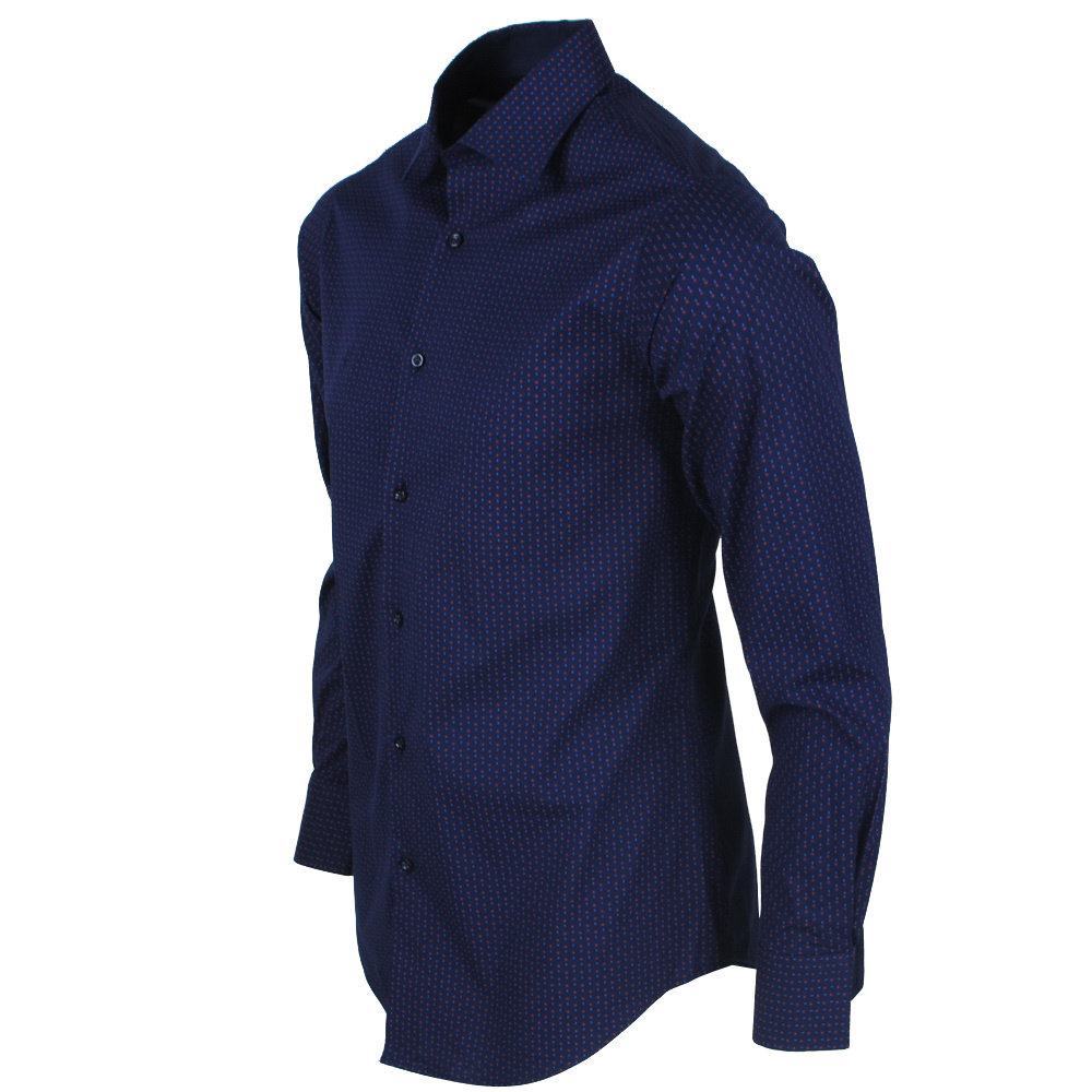 New Republic DiNero Milano - Heren Overhemd - Slim Fit - Blauw met print