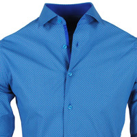 New Republic Chamberlain - Men's Shirt - Slim Fit - Blue with Dots
