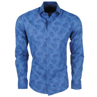 New Republic DiNero Milano - Heren Overhemd - Slim Fit - Palmblad - Blauw