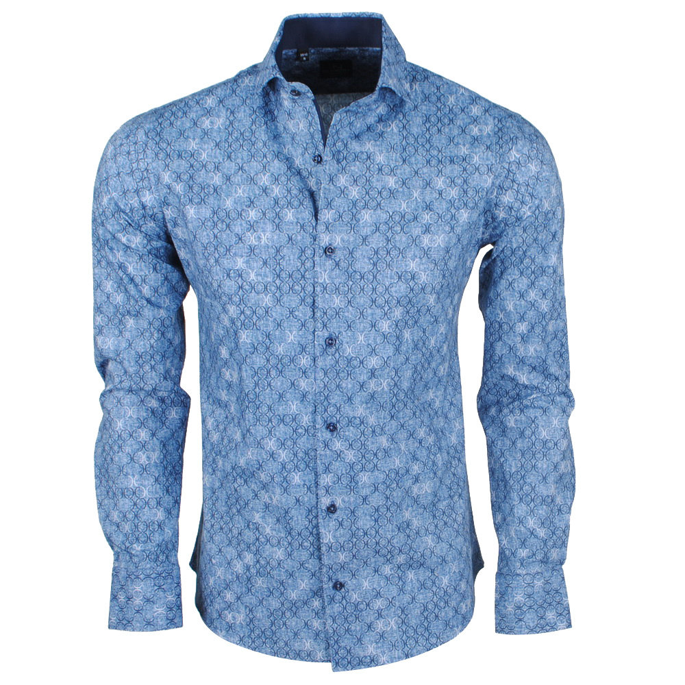 New Republic DiNero Milano - Heren Overhemd - Slim Fit - Licht Blauw