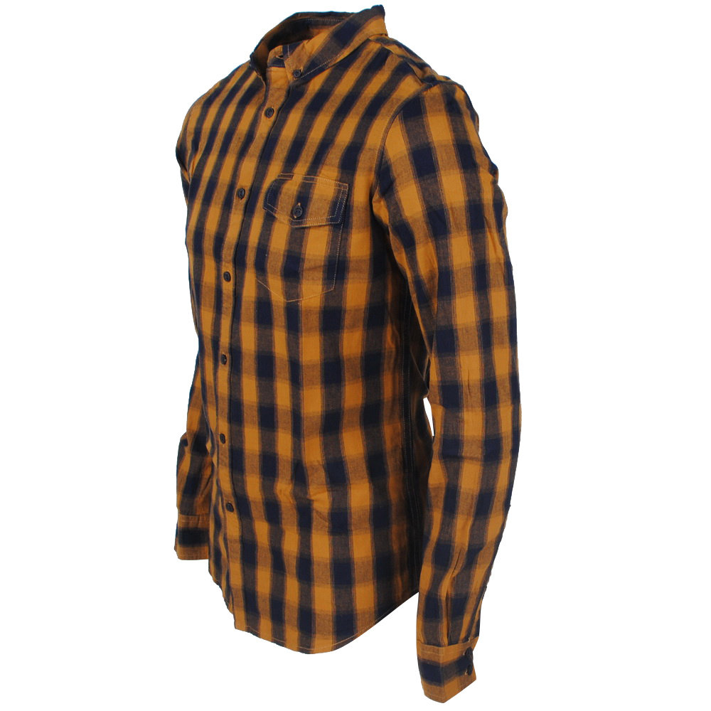 Deeluxe Deeluxe - Men's Shirt - Striped - Model Pieter - Yellow / Navy