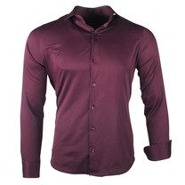 Ferlucci Ferlucci - Trendy Italian Solid Color Men's Shirt - Napoli - Oxblood