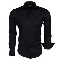 Ferlucci Ferlucci - Trendy Italian Solid Color Men's Shirt - Napoli - Black