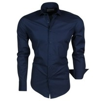 Ferlucci Ferlucci - Trendy Italian Solid Color Men's Shirt - Napoli - Navy