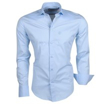 Ferlucci Ferlucci - Trendy Italian Solid Color Men's Shirt - Napoli - Ice Blue