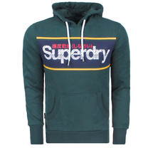 Superdry Superdry Men`s Hoodie - Logo Stripe - Green