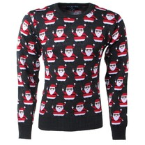 New Republic New Republic - Christmas Sweater - Fine Knitted - Round Neck - Santa Claus - Dark Grey