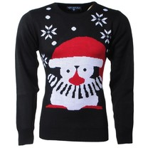 New Republic New Republic - Men's Christmas Sweater - Fine Knitted - Round Neck - Penguin - Black