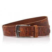 Timbelt Timbelt - Men's belt - Croco - 4 CM - 100% Leather - Model number 40628 - Light Brown
