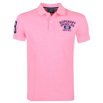 Superdry Superdry - Heren Polo - Superstate - Neon Roze