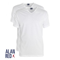 Alan Red Alan Red - T-Shirt - V-Hals - 2 Pack - Vermont - Regular Fit - Wit