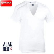 Alan Red Alan Red - T-Shirt - Extra Diepe V-Hals - 2 Pack - Nov - Stretch - Slim Fit - Wit