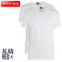 Alan Red Alan Red - Extra Lang T-Shirt - 2 Pack - Vermont - V-Hals - Wit