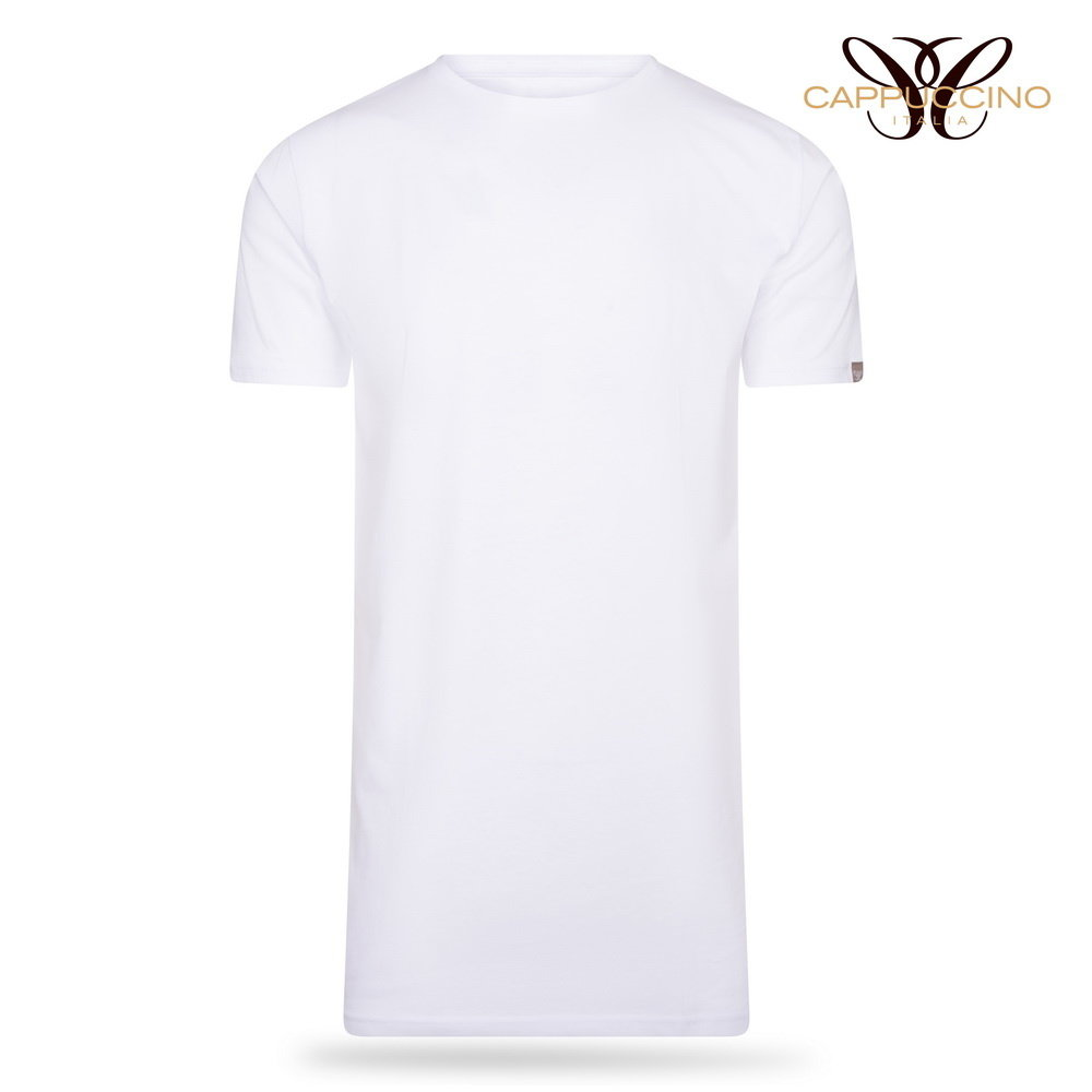 Cappuccino Cappuccino - Extra Long T-shirts - 4-Pack - Round Neck - White