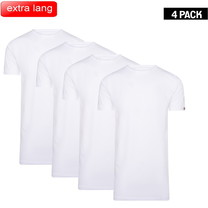 Cappuccino Cappuccino - Extra Lange T-Shirts - 4-Pack - Ronde Hals - Wit