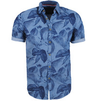 New Republic Earthbound - Heren Korte Mouw Overhemd - Tropical - Navy
