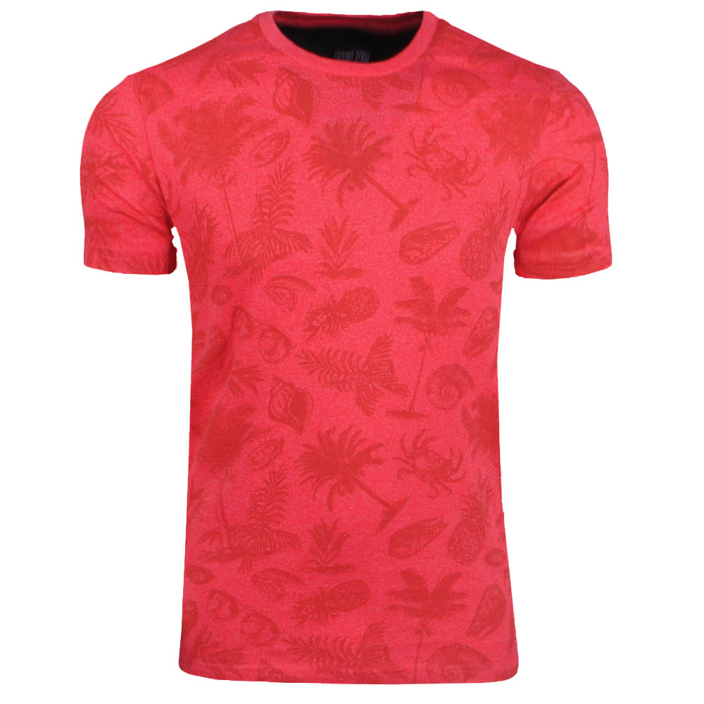 New Republic Earthbound - Heren T-Shirt - Tropical Print - Rood