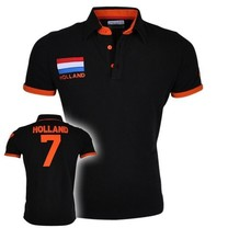 New Republic Championnat d'Europe de Football - Polo Homme Pays-Bas - Noir